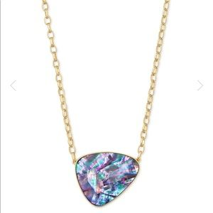 NWT Mckenna Gold Pendant Necklace In Lilac Abalone